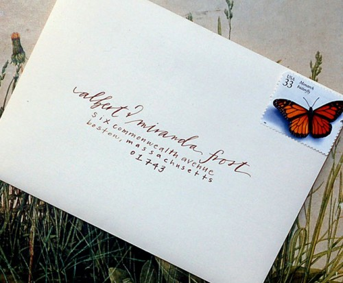 neither snow calligraphy wedding invitation envelope 500x413 Lovely Calligraphy from Neither Snow