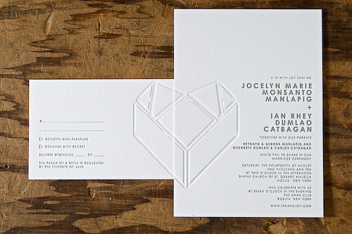 overlapping heart wedding invitation Perfect Half Wedding Invitations