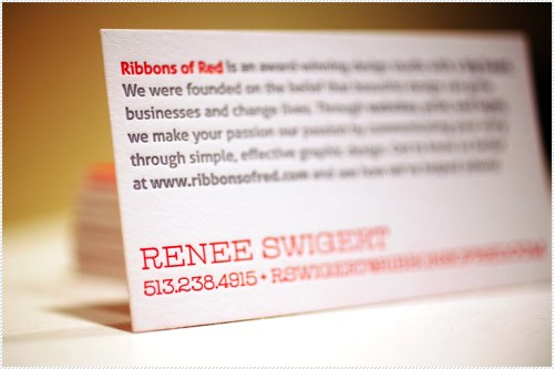 red letterpress business cards3 500x333 Ribbons of Red