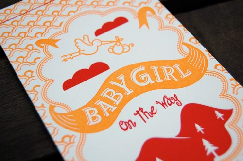 red orange letterpress baby shower invitations cover 500x332 Katies Red + Orange Baby Shower Invitations