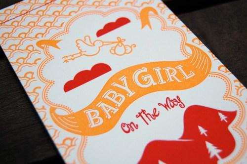 red orange letterpress baby shower invitations cover 500x332 Katies Red + Orange Baby Shower Invitations
