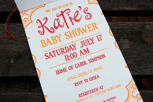 red orange letterpress baby shower invitations text 500x332 Katies Red + Orange Baby Shower Invitations