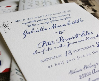 Vintage Airmail-Inspired Wedding Invitations