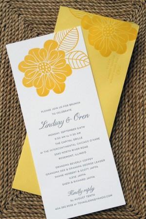 yellow flower wedding brunch invitation 300x450 Wedding Day After Brunch Invitations
