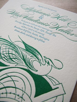 Aqua Emerald Wedding Invitations Detail 300x400 Emerald + Aqua Wedding Invitations