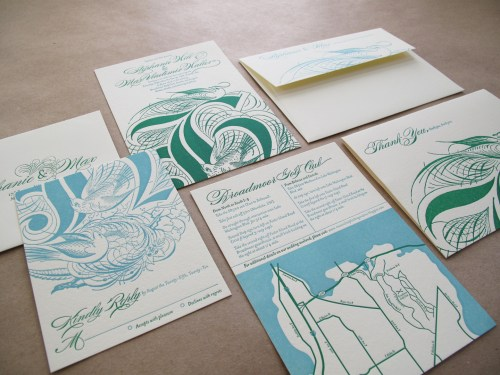 Aqua Emerald Wedding Invitations Overview 500x375 Emerald + Aqua Wedding Invitations