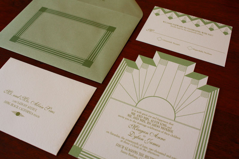 Art Deco + Sea Coral Wedding Invitations
