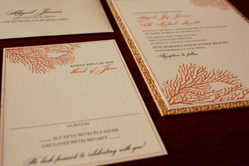 Coral Nautical Wedding Invitations 500x333 Art Deco + Sea Coral Wedding Invitations