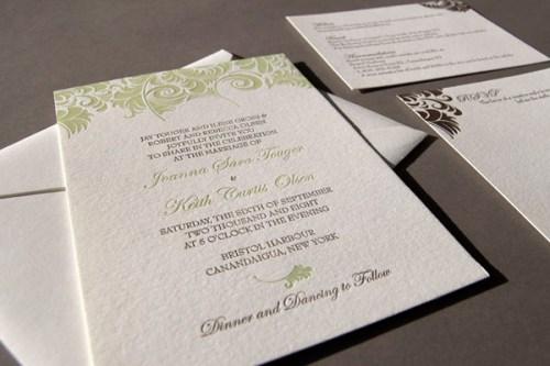 Pistachio Press Letterpress Wedding Invitations Damask2 500x333 Wedding Invitations   Pistachio Press