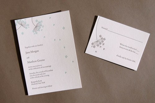Pistachio Press Letterpress Wedding Invitations Queen Annes Lace 500x333 Wedding Invitations   Pistachio Press