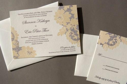 Pistachio Press Letterpress Wedding Invitations Vintage Lace 500x333 Wedding Invitations   Pistachio Press