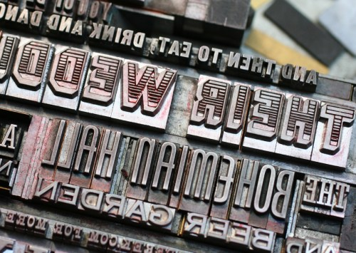abbeyderek2a 500x355 The Printing Process: Letterpress Printing with Antique Type