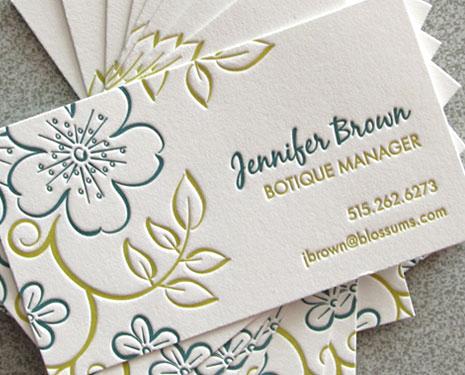 blue flower letterpress calling cards Letterpress Calling Cards