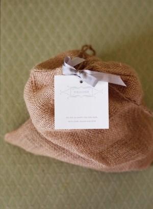 burlap letterpress favor bags 300x410 Jillians Elegant Wedding Invitations