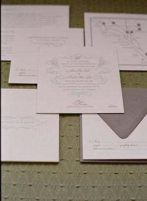 elegant letterpress wedding invitation 300x410 Jillians Elegant Wedding Invitations