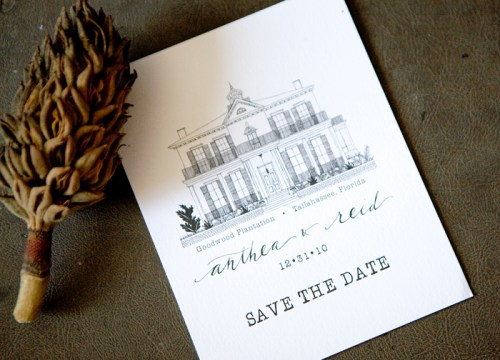 hand lettered manor save the date 500x360 Hand Illustrated Save the Dates