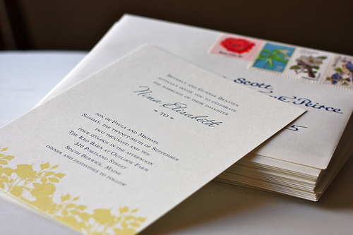 hello tenfold yellow floral wedding invitation vintage stamps The Printing Process: Digital Printing