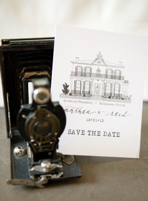 illustrated manor save the date 300x405 Hand Illustrated Save the Dates