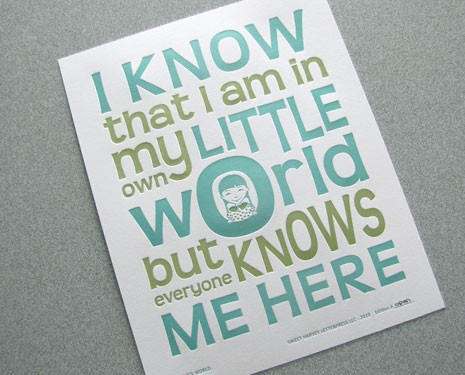 letterpress whimsical art print Letterpress Calling Cards