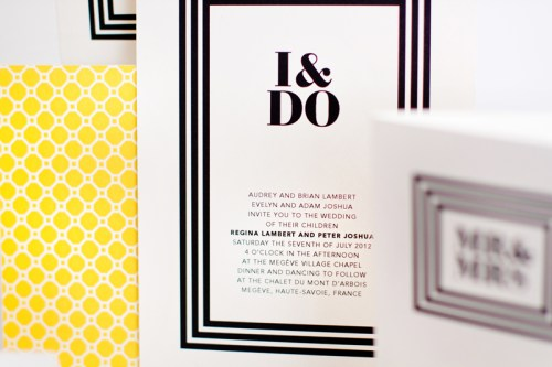 mitchell dent black white yellow honeycomb stripes wedding invitation 500x333 Wedding Invitations   Mitchell + Dent