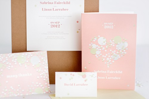 mitchell dent pink confetti wedding invitation suite 500x333 Wedding Invitations   Mitchell + Dent
