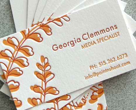orange letterpress calling cards Letterpress Calling Cards