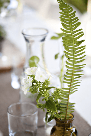 woodland botanical industrial wedding reception fern Alyson + Levis Vintage Botanical Wedding Invitations