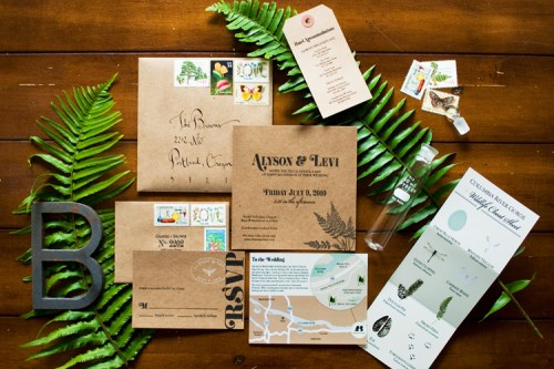 woodland wedding invitations 500x333 Alyson + Levis Vintage Botanical Wedding Invitations