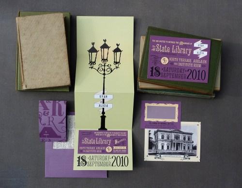 Akimbo Mortlock 1 500x389 Alicia + Ryans Victorian Library Wedding Invitations