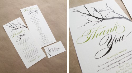 Branch Twine Wedding Thank You Cards 500x277 Buffy + Jeffs Twine, Cork, and Branch Wedding Invitations