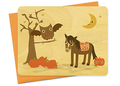 Halloween Night Owl Paper Wood Card Seasonal Stationery: Halloween Cards and Invitations