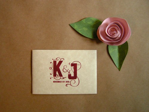 Katy Jason Red Pink Screenprinted Wedding Invitations Belly Band 500x375 Katy + Jasons Vintage Inspired Wedding Invitations