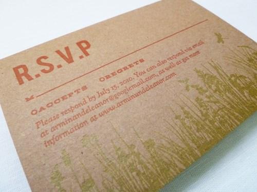Kraft Chipboard Wedding Invitations RSVP 500x375 Eleanor + Armins Chipboard Wedding Invitations