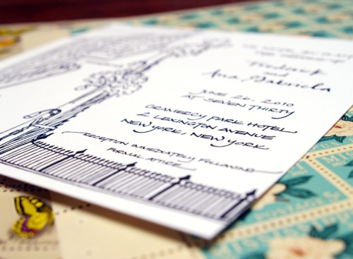 New York Black White Calligraphy Wedding Invitation Detail2 500x367 Frederick + Anas Grammercy Park Wedding Invitations