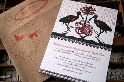 blackbird spoonbills 500x333 Wedding Invitations   Blackbird Letterpress