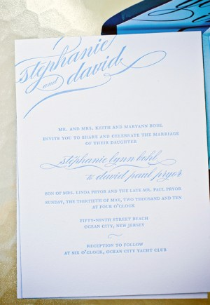 blue calligraphy wedding invitations 300x435 Stephanie + Davids Nautical Wedding Invitations