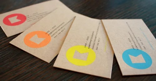 kraft paper fluorescent business cards 500x261 Kraft Paper Business Cards
