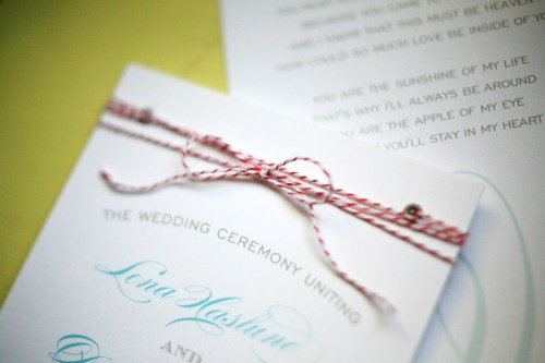 California Wedding Ceremony Program Twine 500x333 Lena and Dereks California Wedding Invitations