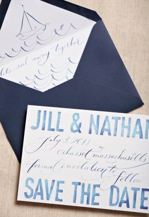 Blue Watercolor Calligraphy Wedding Save the Dates 300x437 Watercolor + Calligraphy Save the Dates