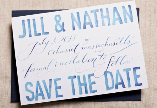 Blue Watercolor Calligraphy Wedding Save the Dates2 500x345 Watercolor + Calligraphy Save the Dates