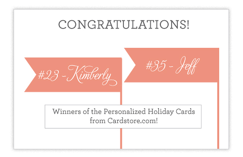 Giveaway Winner Cardstore.com  New Giveaway! Holiday Cards from Cardstore.com