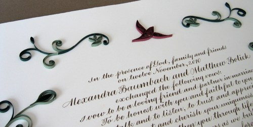 Nature Inspired Quilled Marriage Certificate6 500x251 Nature Inspired Quilled Marriage Certificate