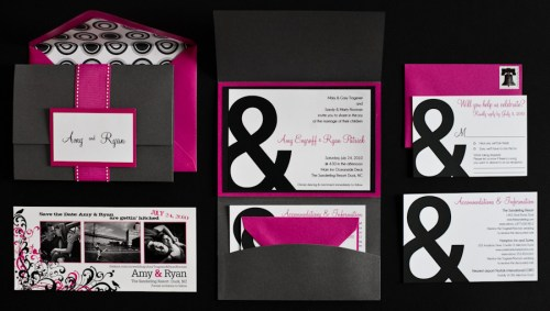 Pink Black Ampersand Wedding Invitations Full 500x283 Amy and Ryans Ampersand Wedding Invitations