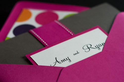 Pink Black Ampersand Wedding Invitations Packet 500x332 Amy and Ryans Ampersand Wedding Invitations