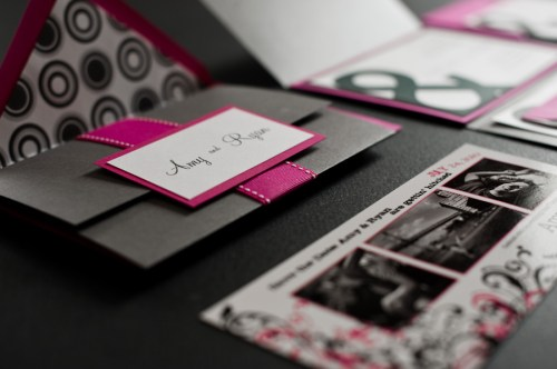 Pink Black Ampersand Wedding Invitations Pocketfold 500x332 Amy and Ryans Ampersand Wedding Invitations