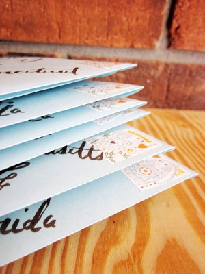 Rustic Blue Brown Wedding Invitation Twine Envelopes 300x400 Danielle + Robs Rustic Chipboard Wedding Invitations