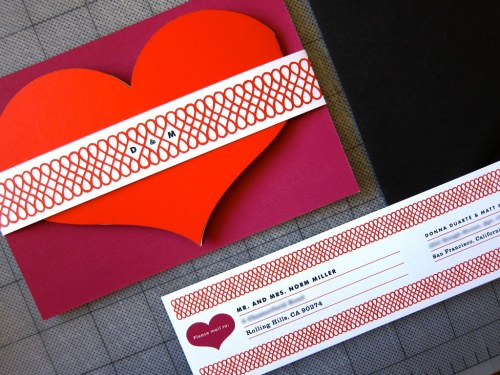 Erin Jang Heart Shaped Wedding Invitations 500x375 Best of 2010 Wedding Invitations: The Indigo Bunting