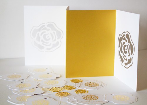 Gold Rose Arabic Wedding Invitation Die Cut 500x357 Modern Gold + Rose Arabic Wedding Invitations