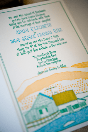Hand Illustrated Letterpress Farm Wedding Invitation2 300x450 Elizabeth and Davids Hand Illustrated Farm Wedding Invitations