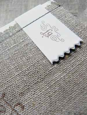 Linen Fabric Stitched Save the Dates4 300x399 Shabby Chic Linen Save the Dates